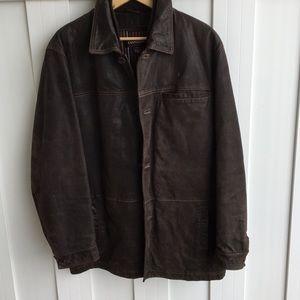 DANIER Leather/Suede Button Up Jacket size L Brown